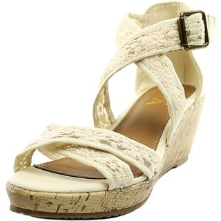Mia Kids Rosario Youth Open Toe Canvas Ivory Wedge Sandal