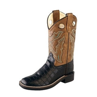 Old West Cowboy Boots Boys Girls Kids TPR Outsole Black Crackle VB9112