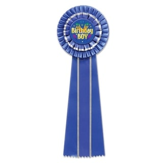 """Pack of 3 Royal Blue """"Birthday Boy"""" Party Favor Deluxe Rosette Ribbons 13.5"""""""