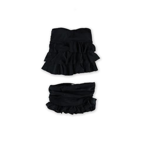 Island Escape Womens Tiered Ruffled Skirtini 2 Piece Bandeau, black, 8
