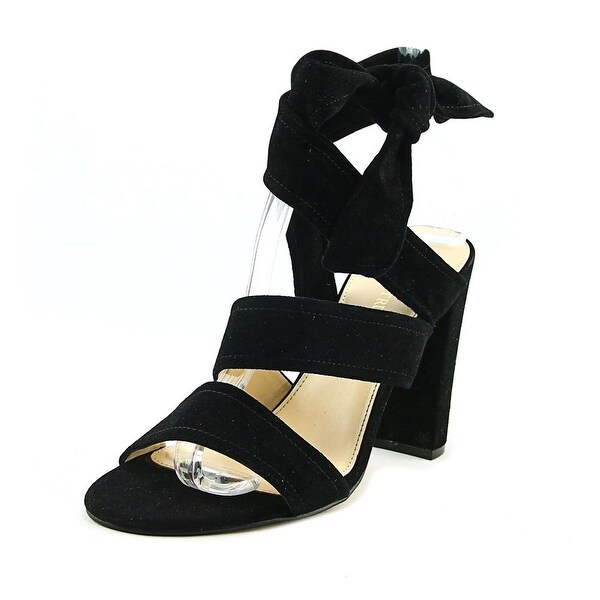 Ivanka Trump Kiffie Women Open Toe Suede Black Sandals