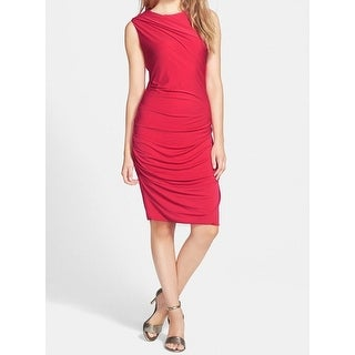 DKNY NEW Red Womens Size Medium M Sleeveless DrapedSheath Dress