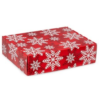 """Pack Of 6, 12 X 9 X 3"""" Red & White Snowflakes Gourmet Shipping Auto Lock Boxe 1-Piece W/Fold-Over Lid"""