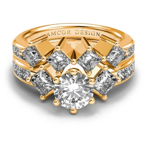 14K Yellow Gold 2.85 CT Channel Round & Princess Diamond Bridal Set
