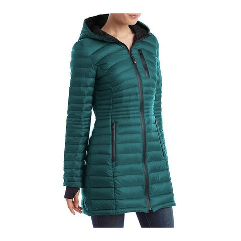 HFX Halifax Womens Teal Down Packable Coat Hooded