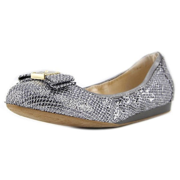 Cole Haan Tali Bow Ballet Women Round Toe Leather Silver Ballet Flats