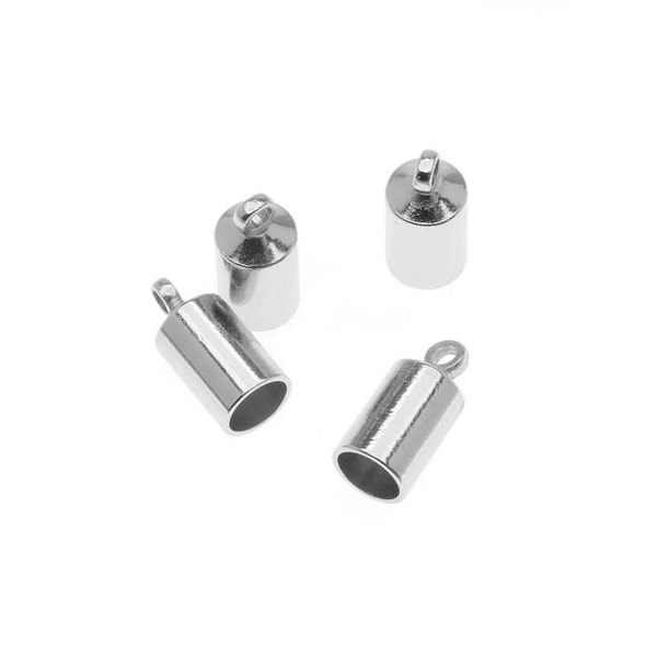Beadsmith Silver Plated Barrel Cord Ends With Ring 10mm Long - Fits Up To 4mm Cords (4)
