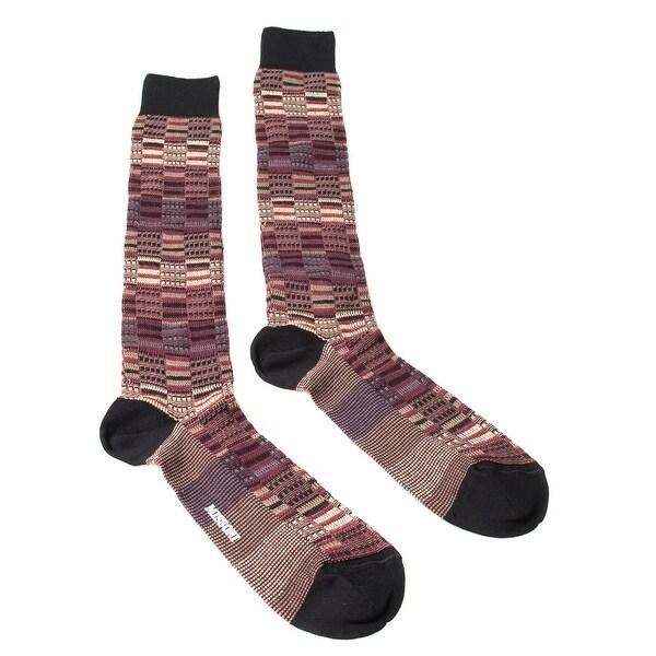 Missoni GM00CMU5241 0004 Burgundy/Tan Knee Length Socks - M
