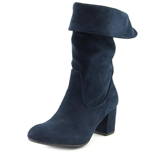 GC Shoes Lane Women Round Toe Synthetic Blue Mid Calf Boot