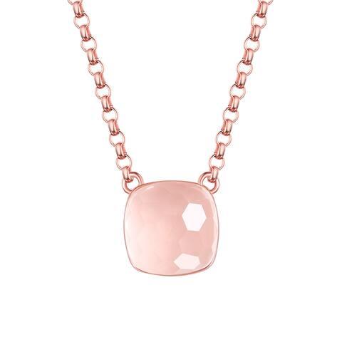Vedantti Mini Honeycomb Cut Rose Quartz Gemstone Diva Solitaire Necklace