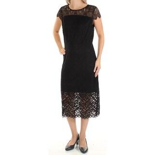 Womens Black Cap Sleeve Midi Sheath Formal Dress Size: S