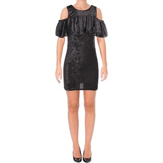 Poof Womens Juniors Party Dress Ruffled Velvet