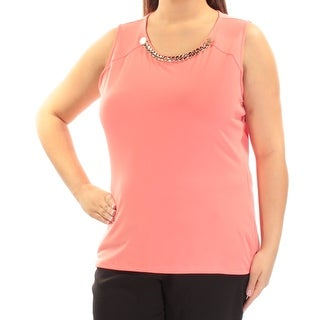CALVIN KLEIN $59 Womens New 1289 Coral Embellished Sleeveless Top XL B+B