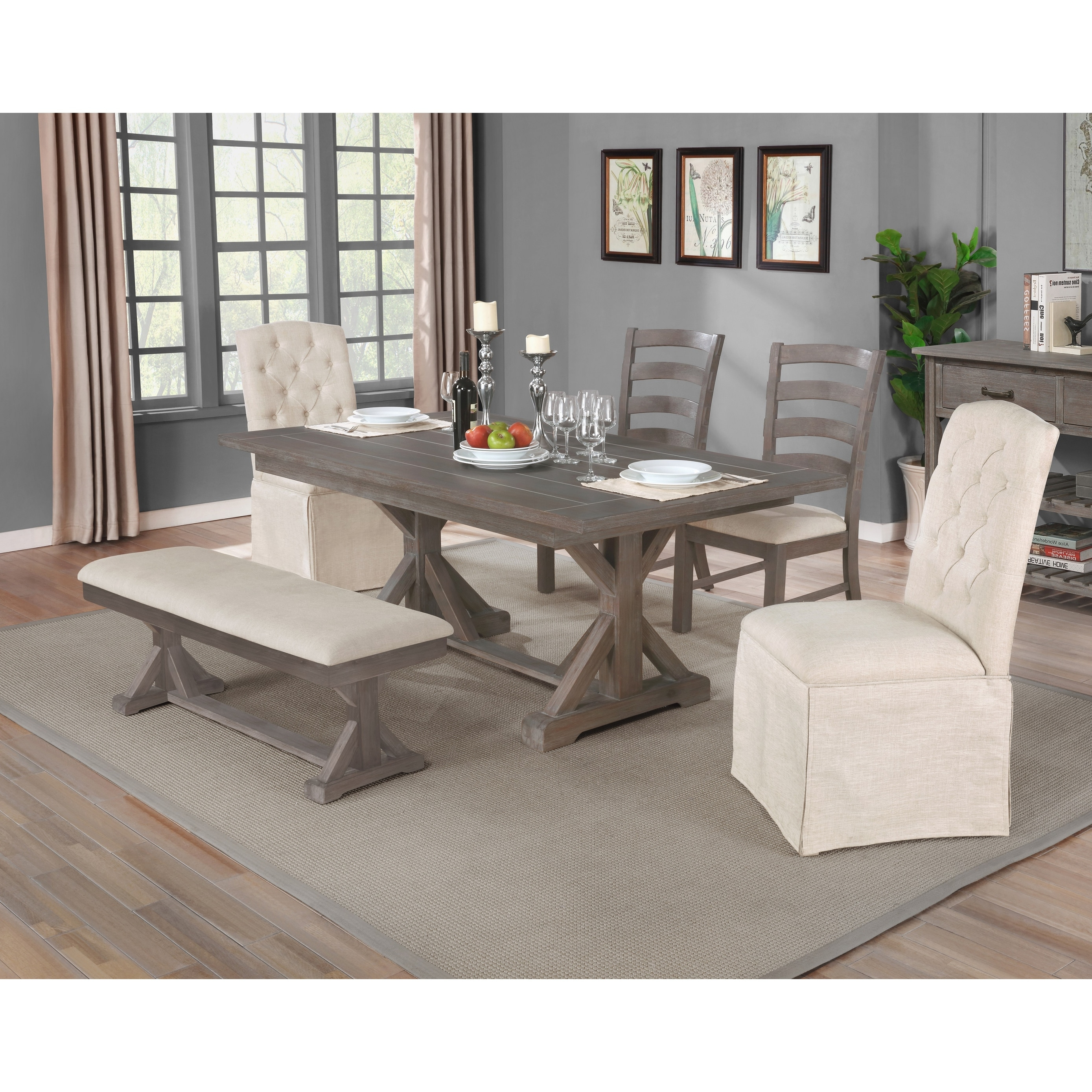 Best Quality Furniture 6 Piece Rustic Grey Trestle Dining Set