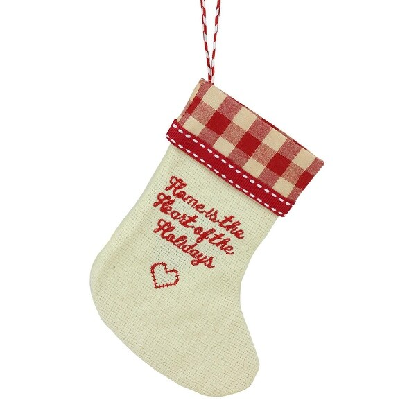 "6.5"" Tan and Red Embroidered Heart Stocking wth Gingham Cuff Christmas Ornament"