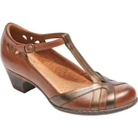 Rockport Women's Cobb Hill Angelina T-Strap Tan Multi Leather