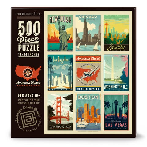 Americanflat 500 Piece Jigsaw Puzzle, 18x24 Inches, American Travel USA Art by Anderson Design Group - 18 x 24