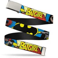 "Blank Chrome 1.0"" Buckle Batgirl In Action W Face Close Up Webbing Web Belt 1.0"" Wide - S"