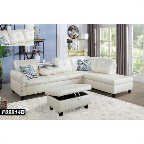 Sectional Sofa Set/w Drop Down Table,Right Facing,White Leather(9914B)