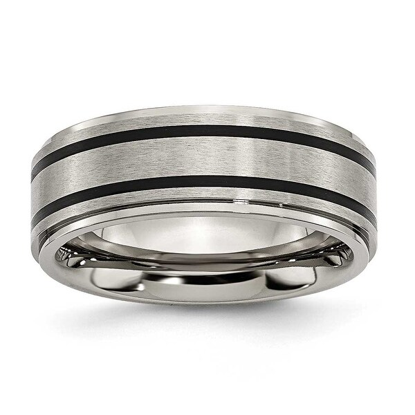 Chisel Black Accent Ridged Edge Brushed and Polished Titanium Ring (8.0 mm)