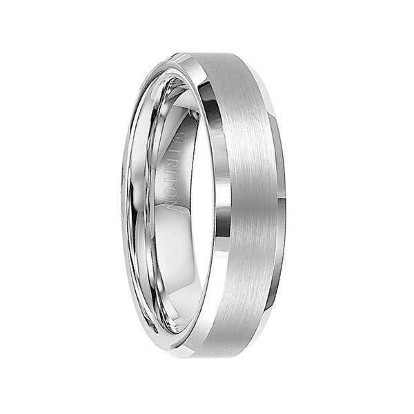 FORBES Polished Beveled Edge Satin Finish White Tungsten Carbide Comfort Fit Wedding Band by Triton Rings - 6 mm