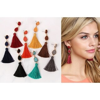 "RIAH FASHION'S Sparkly Druzy Tassel Statement Earrings - 3.50"" drop length"