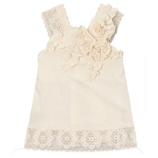Little Girls Ivory Solid Color Rosette Lace Detailed Sleeveless Shirt 12M-6