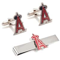 Los Angeles Angels Cufflinks and Tie Bar Gift Set MLB - Silver