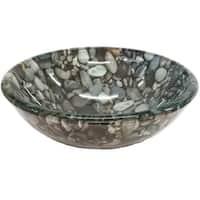 Eden Bath 14-in Natural Pebble Pattern Glass Vessel Sink
