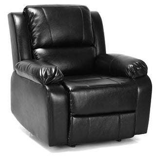 Costway Manual Recliner Chair Lounge Sofa PU Leather Padded Home Theater Reclining Black