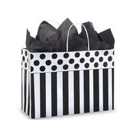 """Pack Of 25, Vogue 16 X 6 X 12"""" Stripe Domino Alley Recycled Paper Shopping Bags Made In Usa"""