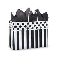 "Pack Of 250, Vogue 16 X 6 X 12"" Stripe Domino Alley Recycled Paper Shopping Bags Made In Usa"