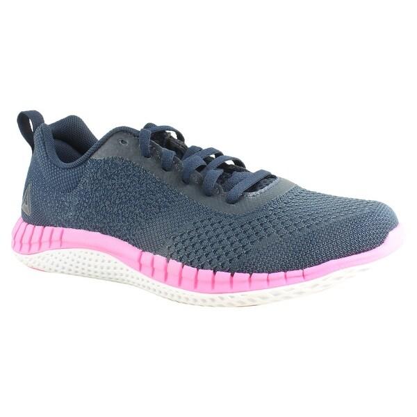 8b89de913e672 Shop Reebok Womens Print Run Prime Ultk Blue Pink Running Shoes Size ...