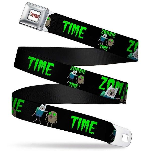 Adventure Time Logo White Full Color Finn & Jake Zombie Time Stacked Black Seatbelt Belt