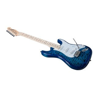 Indio Cali DLX Quilted Maple Top Electric Guitar with Gig Bag Blue Burst