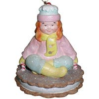 """Girl On """"Ice Cream Cookie"""" Sled 3"""" Christmas Ornament #W5355"""