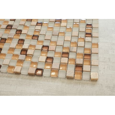 """TileGen. Square 5/8"""" x5/8"""" Glass and Stone Mosaic Tile in Grey Wall Tile (10 sheets/9.5sqft.)"""