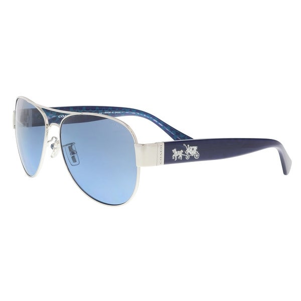 8465fe4aa4 Shop Coach HC7059 927817 Silver Milky Navy Aviator Sunglasses - 58 ...