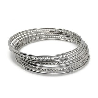 Loralyn Designs Stainless Steel Versatile Mixed Bangle Bracelet Set for Women (Set of 7) - Silver