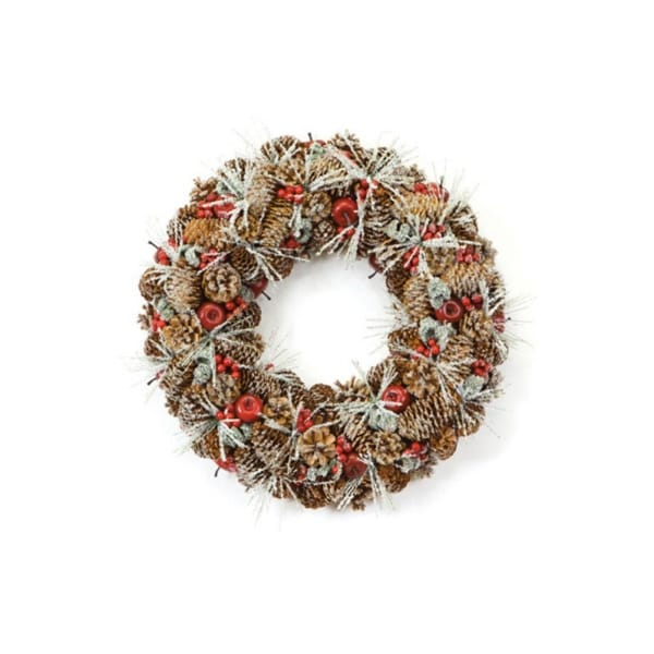 "18"" Eco Country Iced Pine Cone Artificial Apple Berry Christmas Wreath - multi"