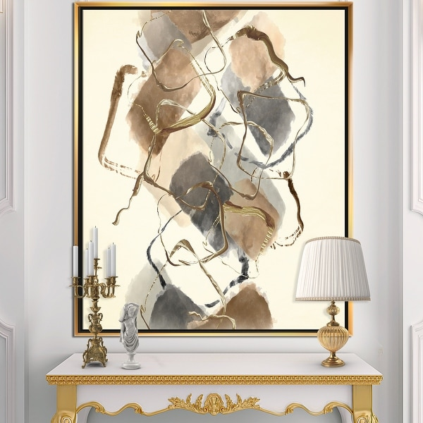 Designart 'Gold Glam Squares III' Modern & Contemporary Framed Canvas - Brown. Opens flyout.