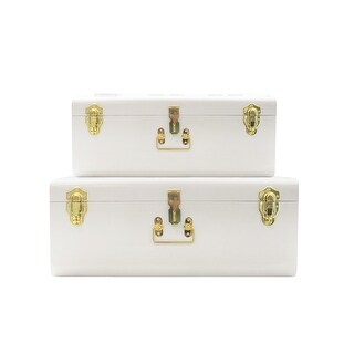 White Trunks Set of 2 - Vintage Style Storage w/Gold Finish Handles & Locks - Space Saving Organizer Home Dorm & Office Use