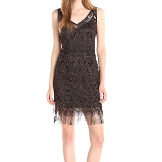 Jessica Simpson NEW Black Women's Size 8 Metallic Fringe Sheath Dress