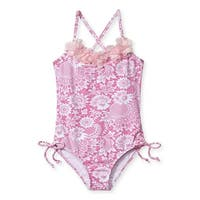 Stella Cove Baby Girls Pink Floral Print Side Tie One Piece Swimsuit - 12 months