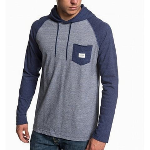 Quiksilver Mens Blue Size Large L Front Pcocket Striped Hooded Sweater