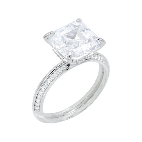 Asscher Cut Cubic Zirconia Solitaire Engagement Ring, Sterling Silver