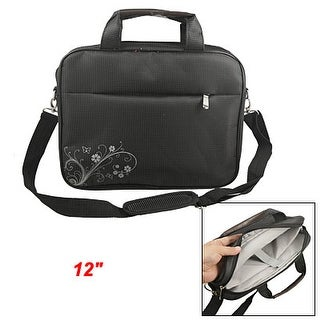 """12"""" Notebook Two Way Zipper Design Dots Flower Computer Handbag Black"""