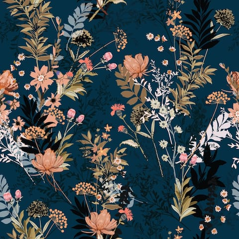 Autumn Red and Orange Flowers Removable Wallpaper - 24'' inch x 10'ft