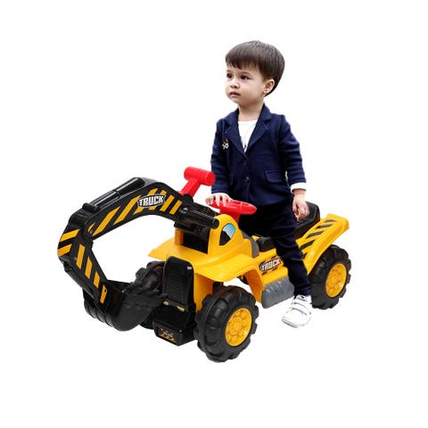 Kids Excavator Construction Digger Ride On Truck w/Plastic Artificial Stones, A Hat