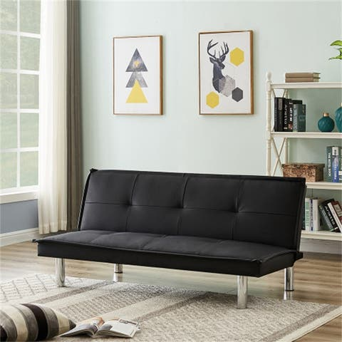 [Pre-Sale]Folding PU Leather Sofa Bed Couch With 3 Adjustable Positions,Metal Legs,Foam Back,Black